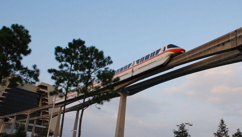 Monorail exiting the Contemporary