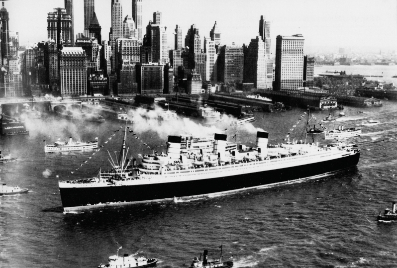 The Queen Mary Sailing into New York City, circa 1936